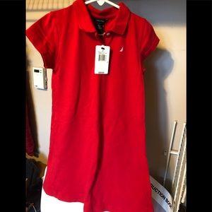 Girls red shirt dress